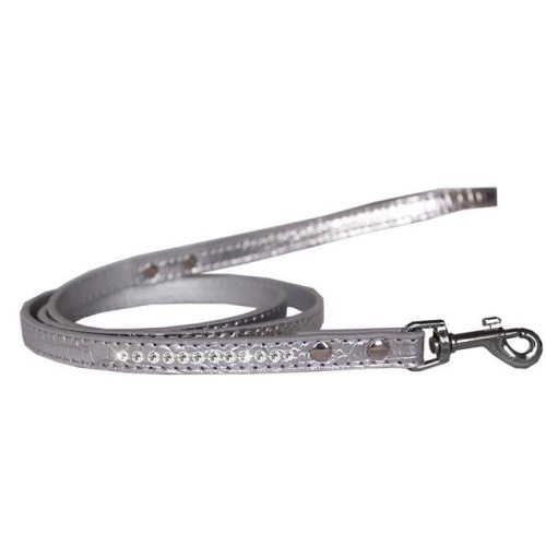 Mirage Pet 720-09 SVC1206 Clear Jewel Croc Leash, Silver - 0.5 in. x 6 ft.