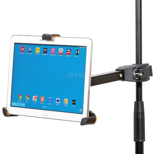 click4av iPad Tablet Holder Music Microphone Mic Stand Clamp Mount 8.9-10.4 inch PAD405