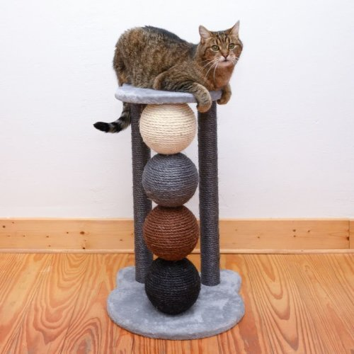 Modern Cat Scratch Post 4 Large Sisal Balls Platform Play Rest Climb