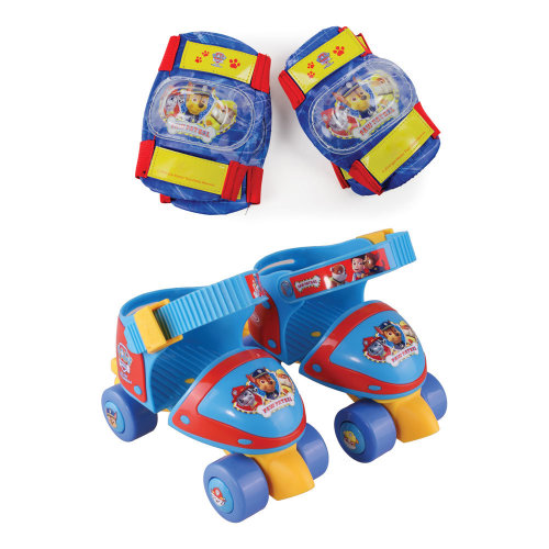 PAW PATROL Adjustable Size 7-11 Quad Skates with Knee Pads & Elbow Pads Protection Pack (OPAW019)