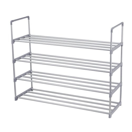 sunvito Shoes Rack,4 Tier Extendable Stackable Stacking Shoe Standing Storage Shelves Shelf Covered Drawers Organisers for 20 Pairs of Shoes