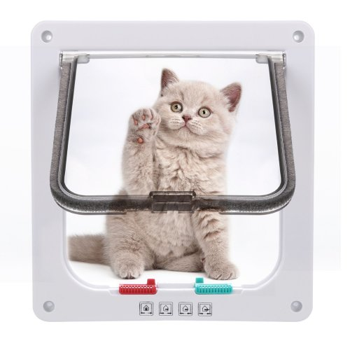 Sailnovo Cat Flap 4 Ways Locking Pet Door flap 19*20*5.5cm , Pet Door Kit for Cats and Small Dogs with Telescopic Frame, Installing Easily, M white
