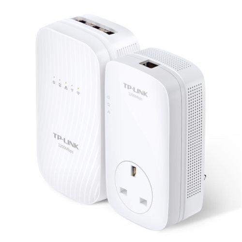 TP-LINK (TL-WPA8730 KIT) AC1750 Wireless Dual Band Powerline Adapter Kit, AV2 1200, AC Pass Through, 3-Port