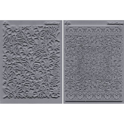 "Lisa Pavelka Texture Stamp Set 4.25""X5.5"" 2/Pkg-Flourish - Garden Glory & Persian Carpet"