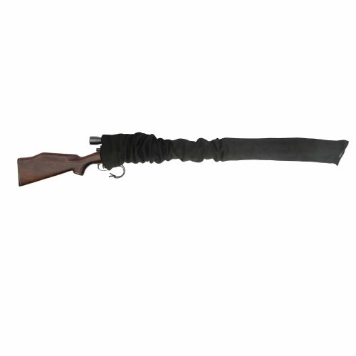 TOURBON Silicone Oil Treated Knit Fabric Shotgun Rifle Storage Gun Sock 52 Inch (Black)