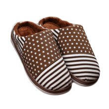 Cozy  & Warm  Indoor Plush House Slipper For Men With Stars, Brown