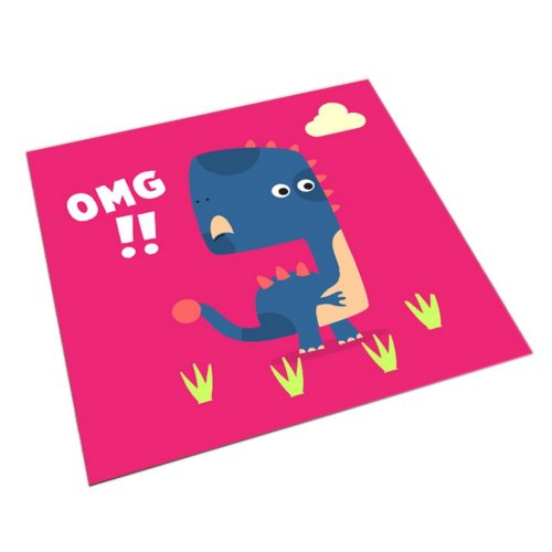 Square Cute Cartoon Children's Rugs, Rose Red And Surprised Cartoon Dinosaur