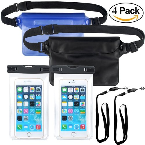 KAISHANE Waterproof Case IPhone Dry Bag Set Waterproof Phone Case Pouch Set 4 Packs Sealed Underwater With Detachable Lanyard and Waist Strap...