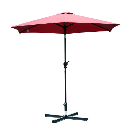 Outsunny 2.7 m Patio Umbrella, Aluminum Frame-Wine Red