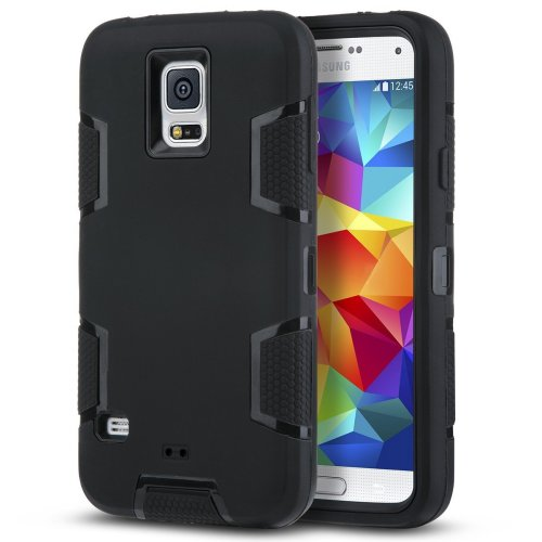 online retailer cdef8 4f8ec S5 Case, ULAK Samsung Galaxy S5 Case Rugged Hybrid Rubber Protective Hard  Case Cover for Samsung Galaxy S5 S V i9600 with Screen Protector (Black +...
