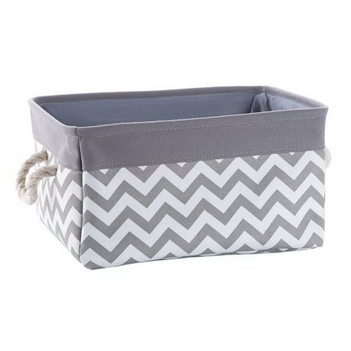 Fabric Portable Storage Basket Kitchen Snack Toy Debris Storage Box, Gray Ripple