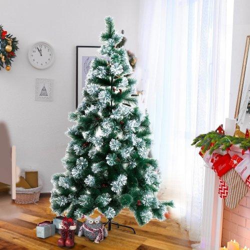 Homcom Christmas Tree Artificial Berry Xmas with Metal Stand