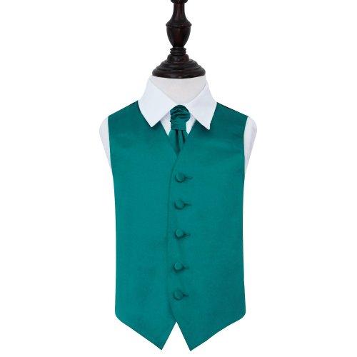 Teal Plain Satin Wedding Waistcoat & Cravat Set for Boys 34'