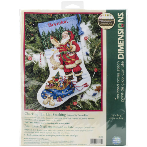 "Dimensions Counted Cross Stitch Kit 16"" Long-Checking His List Stocking (14 Count)"