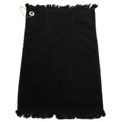 "Golf Towel w/ Fringe 11"" x 18"" Cotton Velour Black"