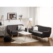 2 Seater Sofa Dark Grey Fabric BODO