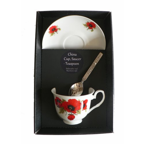Poppy cup and saucer set, bone china gift boxed set with teaspoon