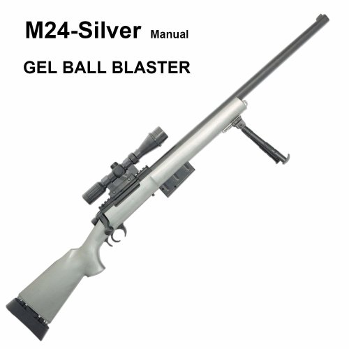 M24 Silver Gel Ball Blaster - Manual Gel Crystal Beads Toy Blaster