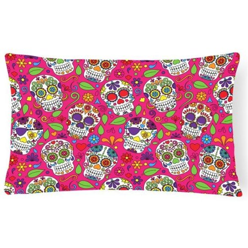 Carolines Treasures BB5115PW1216 Day of the Dead Pink Canvas Fabric Decorative Pillow