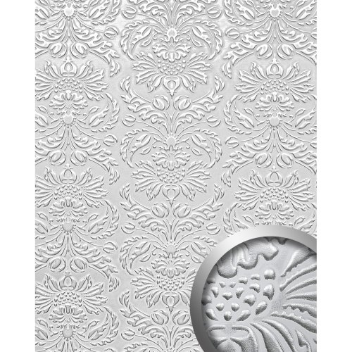WallFace 14794 IMPERIAL Wall panel leather damask decor white silver | 2.60 sqm