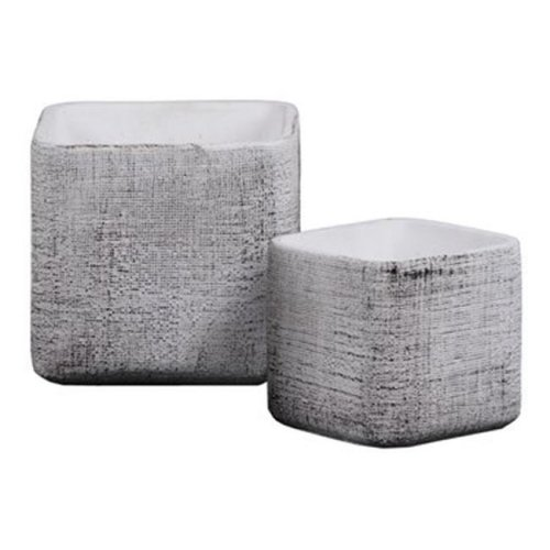 Urban Trends Collection 53401 Cement Square Pot with Embossed Criss Cross Design Body & Tapered Bottom, Washed Finish - White - Set of 2
