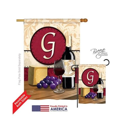 Breeze Decor 30215 Wine G Monogram 2-Sided Vertical Impression House Flag - 28 x 40 in.