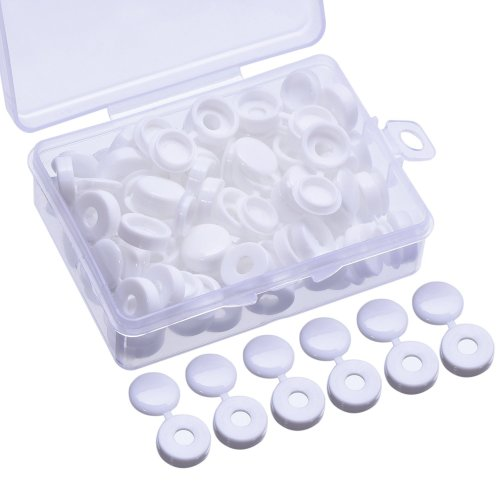 60 Pieces Screw Cap Plastic Screw Covers for Number 6 and 8 Screws with Storage Box, White