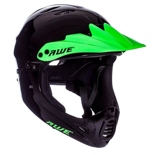 AWE® FREE 5 YEAR CRASH REPLACEMENT* BMX Full Face Helmet Black Green Large 58-62cm