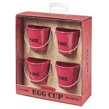 Eddingtons Fire Bucket Egg Cups - 4 Set Red Cream Metal Gift Box -  egg bucket cups 4 eddingtons set fire red cream metal gift box