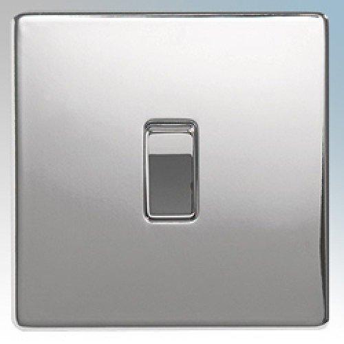 BG Flatplate Screwless 10AX Plate Switch 1 Gang 2 Way Chrome