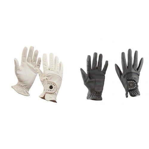 Dublin Unisex Diamante Faux Leather Touch Fastening Patent Dressage Riding Gloves