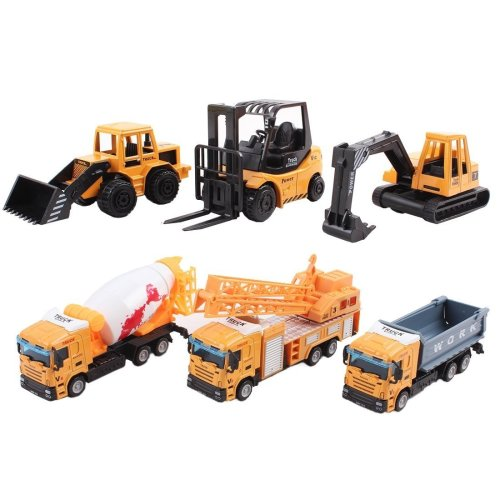 Collectible Die-Cast Model Construction Trucks 1:64 Small Scale Toys Collection with Realistic Look (Pack of 6)