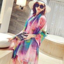 196*150CM Women Summer Silk Print Floral Oversized Beach Towel Sunscreen Visor Shawl