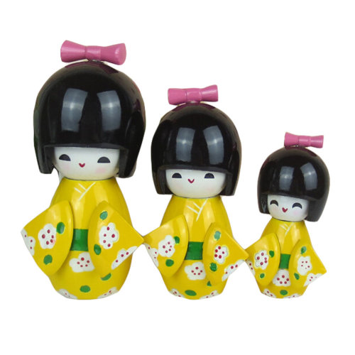 3 Pcs Lovely Japanese Kimono Girl Wooden Dolls With Plum Flower,Yellow