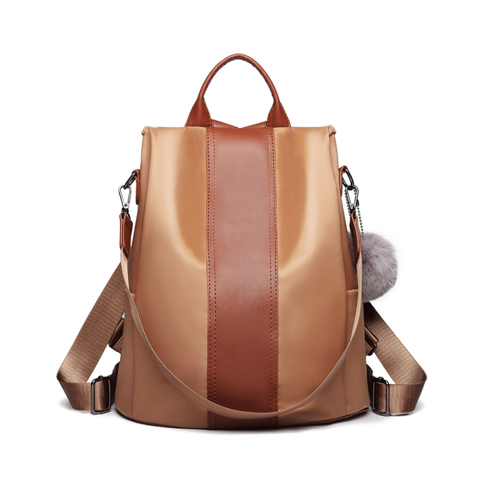 866568906 ... Miss Lulu Women Anti-theft Backpacks Girls Fur Ball School Bags  Waterproof Daypack Rucksack Brown. >
