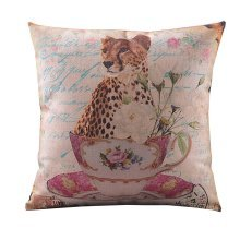 Simple Design Throw Pillow Cover Cotton Linen Animal Cushion Cover, Leopard