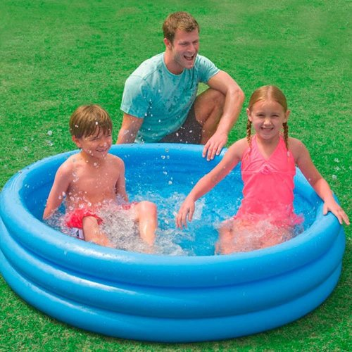 Intex 3 Ring Crystal Blue Pool Inflatable Paddling Pool Water Garden