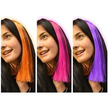 Fizz Creations Neon Hair Extensions -  pack 3 neon clip hair extensions bright colourful pink purple orange