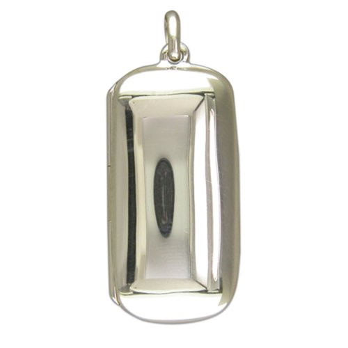 Sterling Silver Plain Lozenge Locket On A Snake Necklace