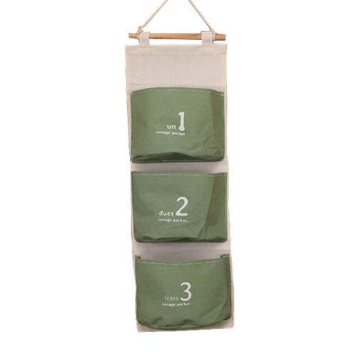 Wall Door Hanging Pocket Storage Bag Jewelry Organizer, Green