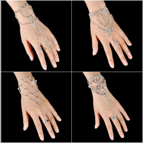 Silver Finger Link Hand Chain Bangle Bracelet for Women