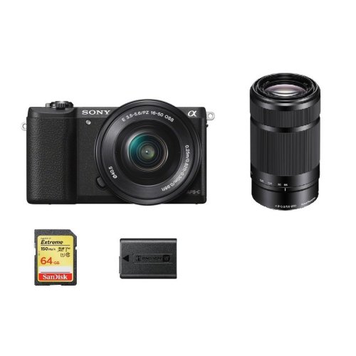 SONY A5100 Black + SEL 16-50MM + 55-210MM + 64GB SD card + NP-FW50