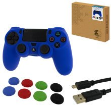 ZedLabz protect & play kit for PS4 inc silicone cover, thumb grips & 3m charging cable - blue