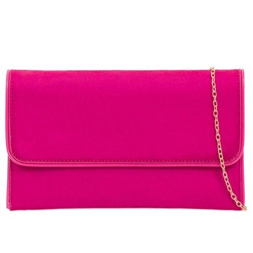 Purple Possum Pink Clutch Bag Cerise Evening Bag Large Purse Faux Suede