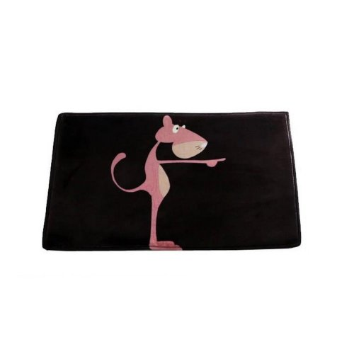 Pink Leopard Cartoon Rug for Kids Black Doormat 23.5''