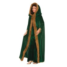 Green Ladies Faux Fur Trimmed Cape Costume -  fur cape trimmed fancy dress green faux ladies medieval game thrones costume FANCY DRESS GAME THRONES