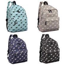 KONO Backpack Girls Boys Horse Canvas School Bag