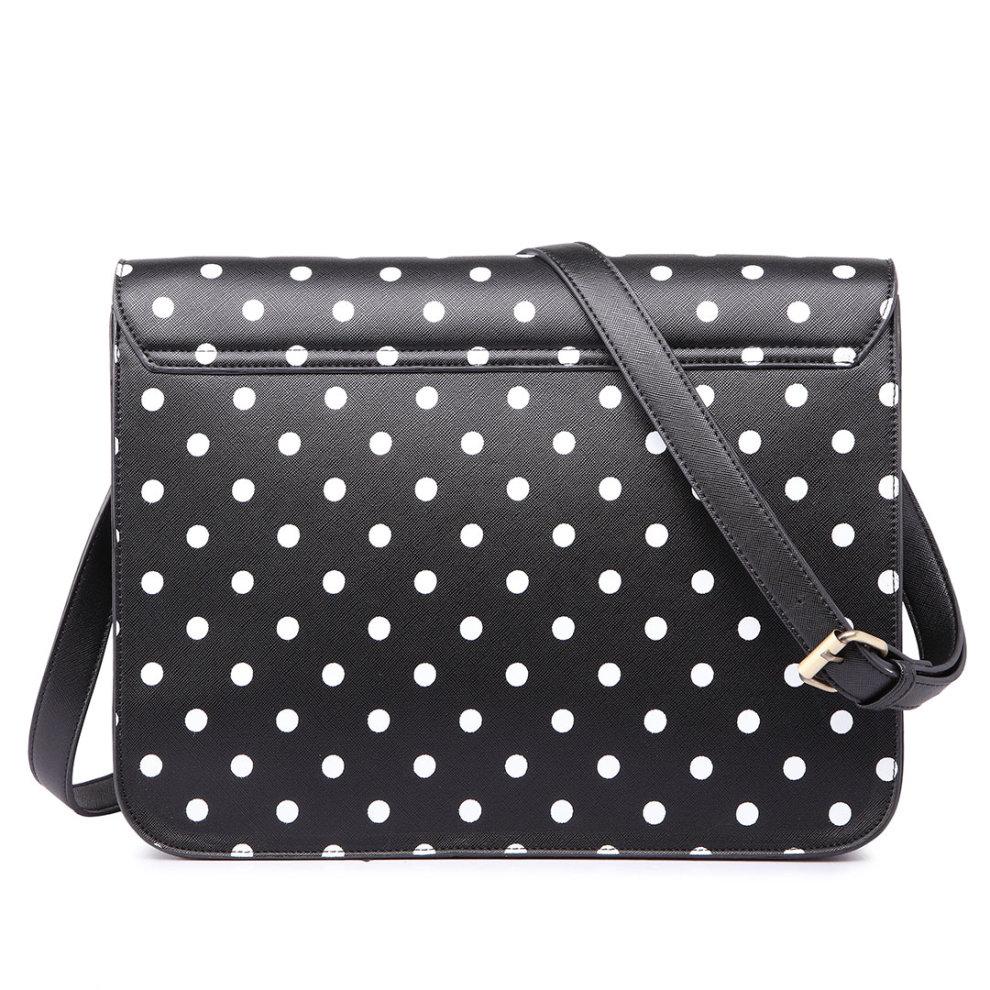... Miss Lulu School Bag Cross Body Messenger Shoulder Satchel PU Leather  Polka Dots Black - 4 ... ccec2f02ad448