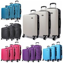 "KONO Striped 4 Wheeled Spinner Suitcase | 20, 24, 28"" & Set"