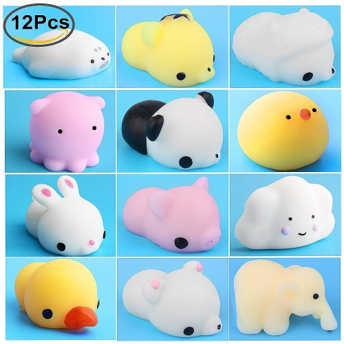 Mini Squishies, Outee 12 PCS Mochi Squeeze Toys Soft Squishy Stretchy Toys